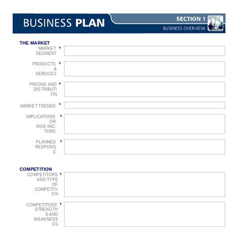 business plan template  examples  word