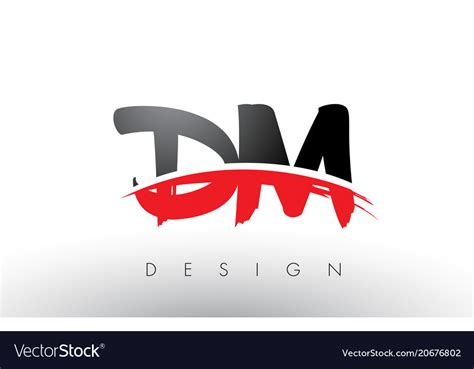 Dm D M Brush Logo Letters With Red And Black Vector Image