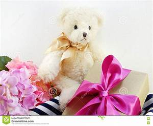 Cute Teddy Bear With Gift And Beautiful Bouquet Flower ...