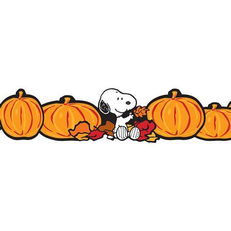 peanuts fall pumpkins extra wide bulletin board trim