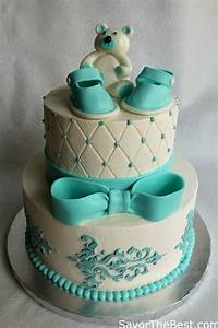 Baby Shower Cake Design with Fondant Baby Shoes and Teddy