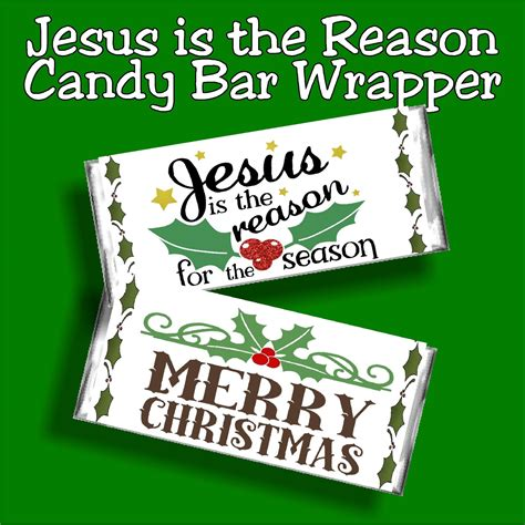 How to wrap chocolate bars with foil + printable wrappers. Jesus is the Reason for the Season Christmas Candy Bar Wrapper | DIY Party Mom