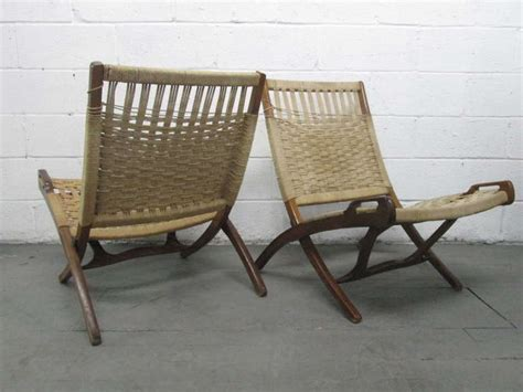 pair folding rope chairs after hans wegner image 4