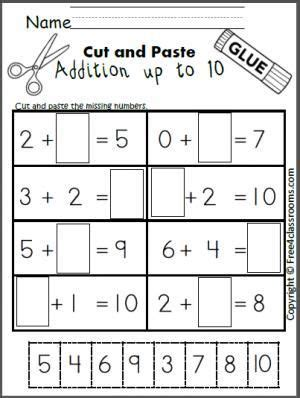 free cut and paste addition math worksheet for adding up to 10 math for special education