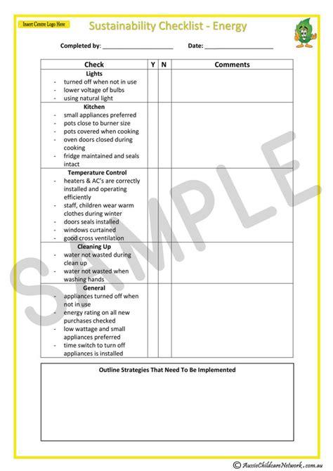 sustainability checklist energy aussie childcare network