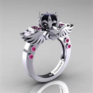 engagement rings with skulls masters classic winged skull 14k white gold 1 0 ct black pink sapphire solitaire