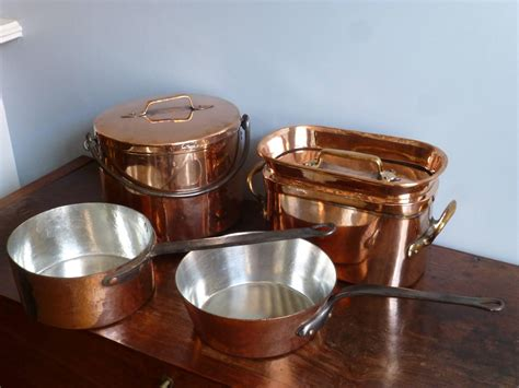 copper pans and pots magnificent set of re tinned copper pans and pots at 1stdibs