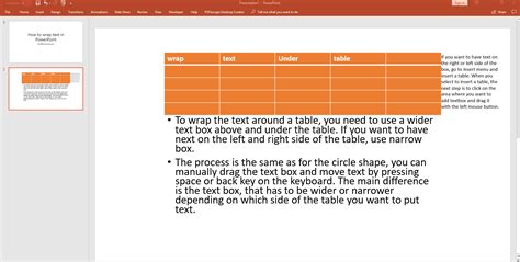 wrap text  powerpoint  table image shape