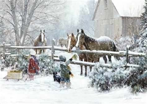 boy  girl feeding horses dr laird country christmas