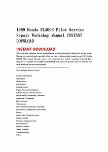 1989 Honda Fl400r Pilot Service Repair Workshop Manual Instant Download By Jjfhsbebf