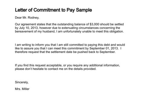 letter  commitment  pay sample types  clearance
