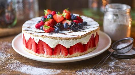 cheats strawberry gateau recipe bbc food
