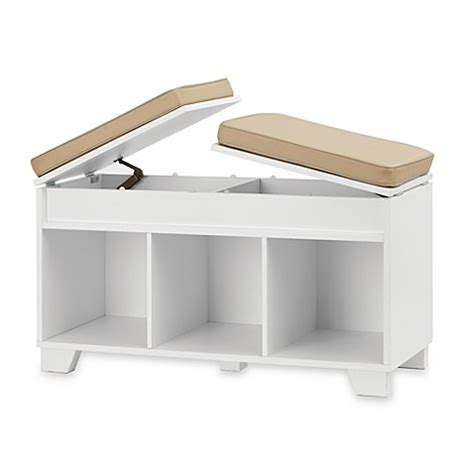 cube storage bench real simple 174 3 cube split top storage bench in white bed