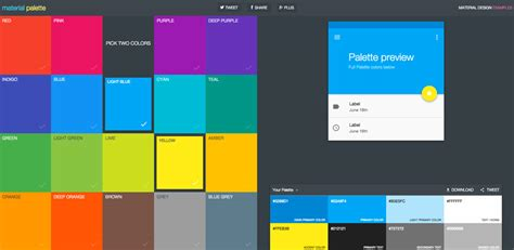 material colors trendy web color palettes and material design color