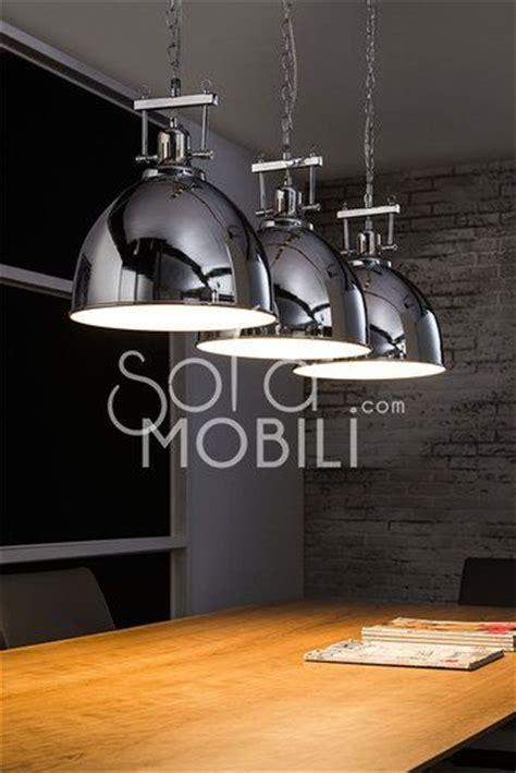 Luminaire Suspension Acier Chromé Industrielle Cuisine