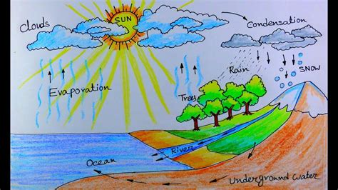 draw water cycle   school project youtube