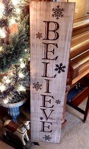 Vertical, Distressed, Red, And, Black, Believe, Sign, With, Metal, Snowflakes, Wood, Hand, Painted, Signs