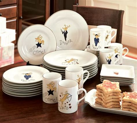 pottery barn reindeer plates santa s reindeer dinner plate mixed set of 4 pottery barn