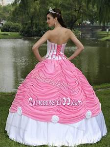 Pink and White Pick-ups Sweet 15 Dresses with Hand Made ...
