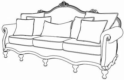 Sofa Coloring Furniture Pages Modern Antique Couch
