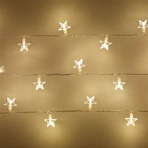 30 Warm White LED Star Fairy Lights On Clear Cable ...