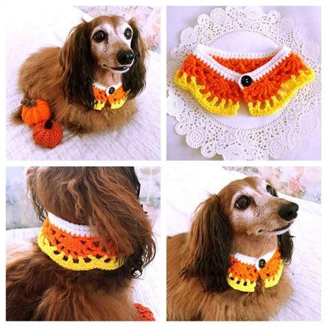 crochet dog scarf dog collar halloween candy corn dog
