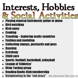 hobies and interest on resume sle hobbies in resumes how to list hobbies and interest on a