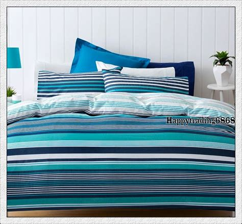 Turquoise And White Duvet Cover by Navy Blue Turquoise White Stripe King Single