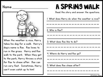 reading comprehension check spring passages  kaitlynn