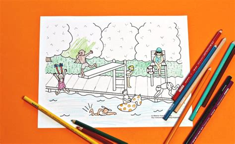 summer    swimming pool coloring page