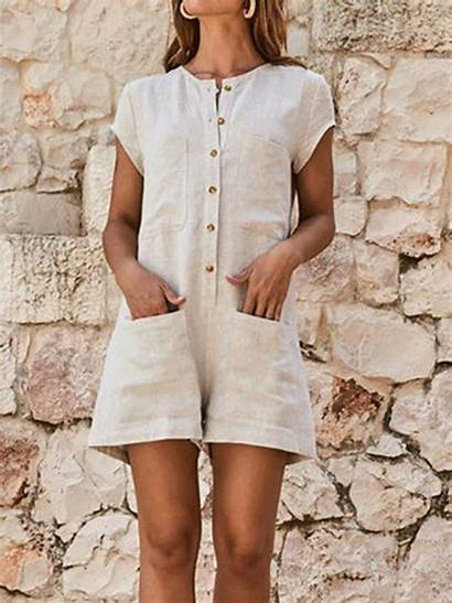 Zolucky Solid Casual Sleeve Short Romper Jumpsuit