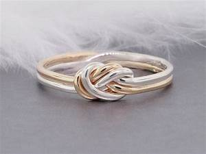 nautical engagement ring 14k solid gold and sterling With knot wedding ring