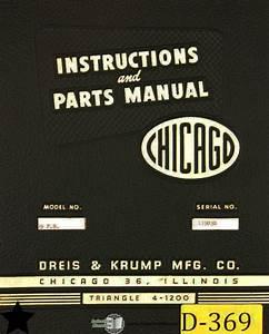 Chicago Dreis  U0026 Krump 69 Pb  Press Brake  Instructions And