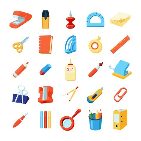 Office Supplies Vector by Colorful Stationery Icons Set Vector Free