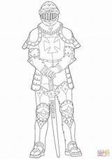 Medieval Knight Coloring Pages Drawing Printable Games sketch template