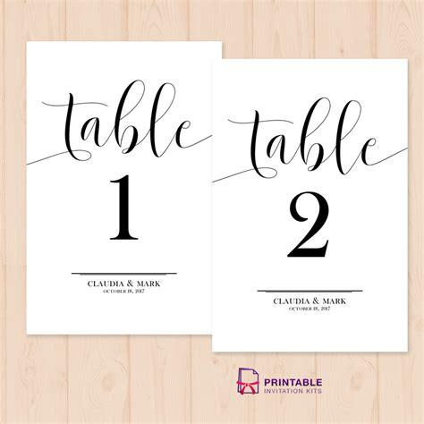 table numbers printable  template wedding invitation