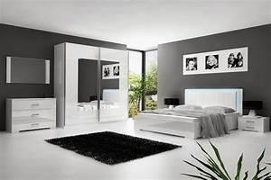 SOLDES Chambre à coucher blanc laqué avec éclairage LED Comforium