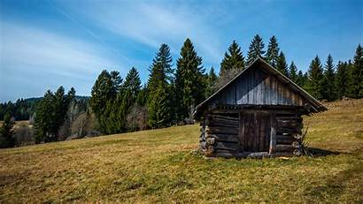 Cabin Log Landscape Scenery Rural Mountain Abandoned