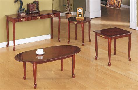Elegant Cherry Wood Coffee Table Set