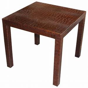 crocodile or alligator embossed leather covered table at With crocodile coffee table