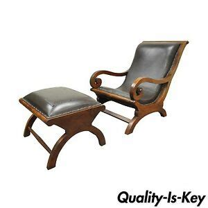 Wood And Leather Chair With Ottoman by Colonial Augusto Teak Wood Leather Plantation