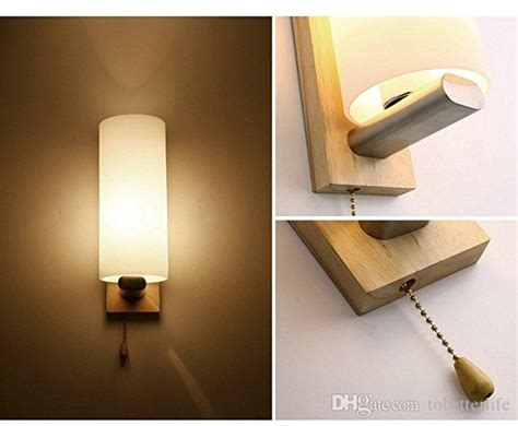 wooden glass led wall lights with pull cord switch up and down for indoor home bedrooms living