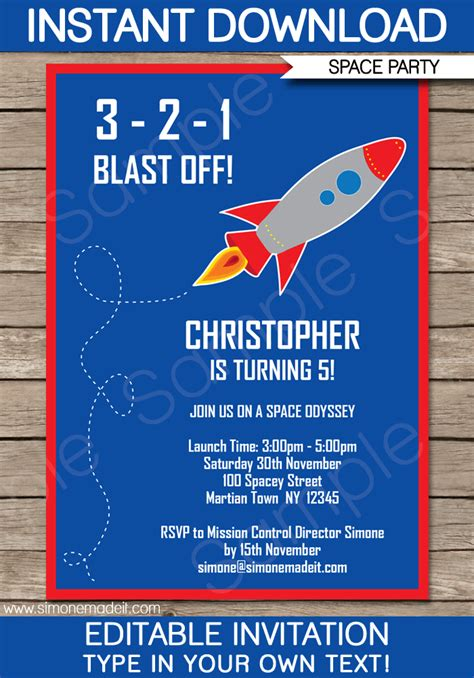space rocket party invitations template birthday party