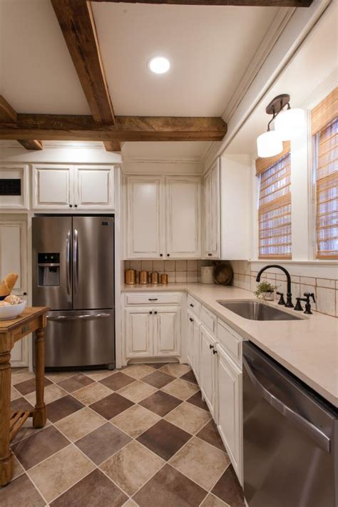 white french country kitchen  brown tile floors hgtv