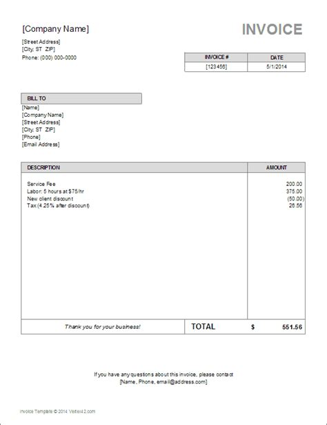 simple invoice templates  freelancer