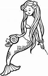 Mermaid Coloring Mermaids Printable Drawing Line Drawings Pretty sketch template