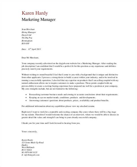 11 marketing cover letter templates free sle