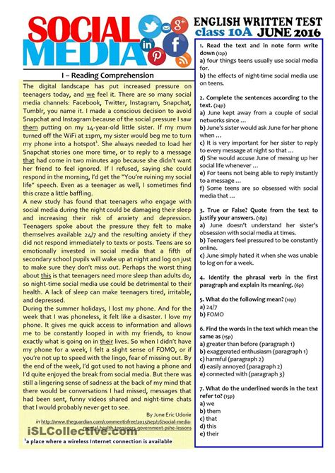 comprehension test social media 10th grade test esl worksheets of the day