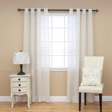 Striped Drapery by Best Home Fashion Faux Linen Horizontal Striped Curtains