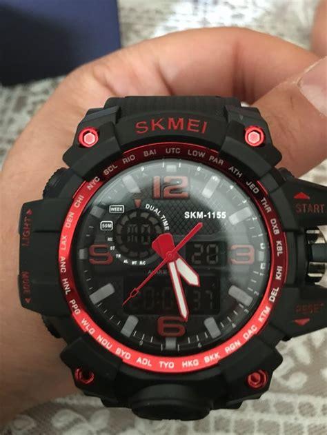 jual jam tangan pria skmei ad led hitam original water